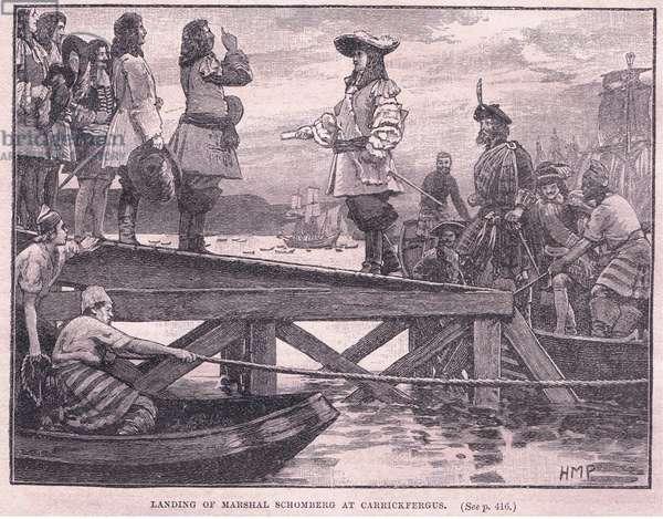The landing of Marshal Schomberg at Carrickfergus AD 1689 (litho)