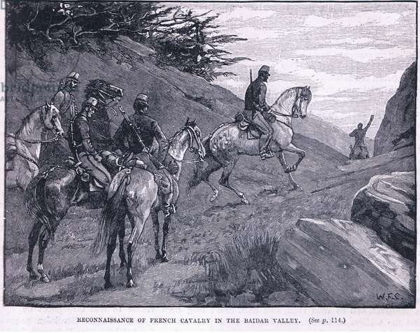 Reconnaissance of French cavalry in the Baidar Valley 1855AD (litho)