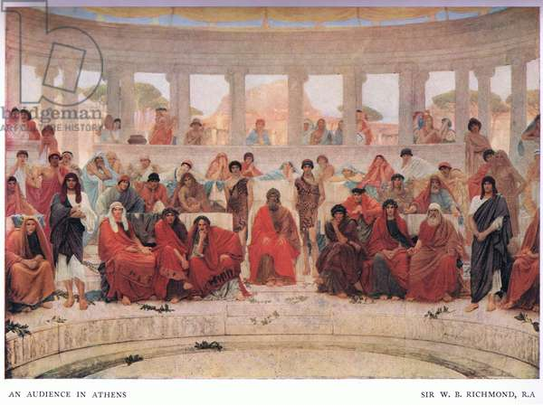 An audience in Athens during the Representation of Agamemnon, from The Gresham Publishing Company Ltd, 1920 (colour litho)