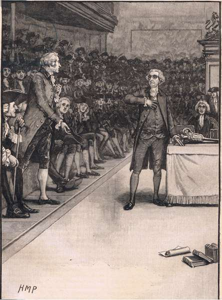 Scene in the Houses of Commons: breach between Burke and Fox AD 1791