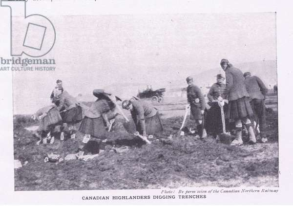 Canadian Highlanders digging trenches, from History of the Great War Vol 3 published by Waverley Book Co Limited, c.1920 (b/w photo)