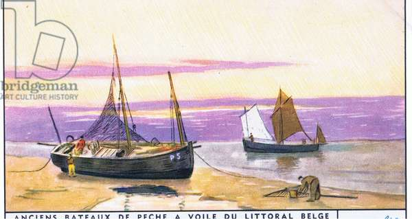 Chaloupe of Panne, illustration from Liebig Trade Cards (1940's) Old Fishing Boats of the Belgium coast (colour litho)