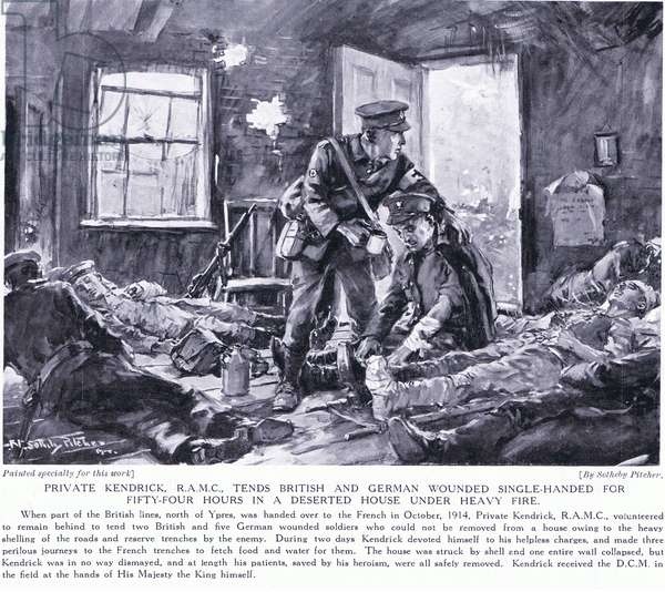 Private Kendrick RAMC, DCM, tends British and German wounded, single handed for fifty four hours in a deserted house under heavy fire at Ypres 1915  (black and white photo)