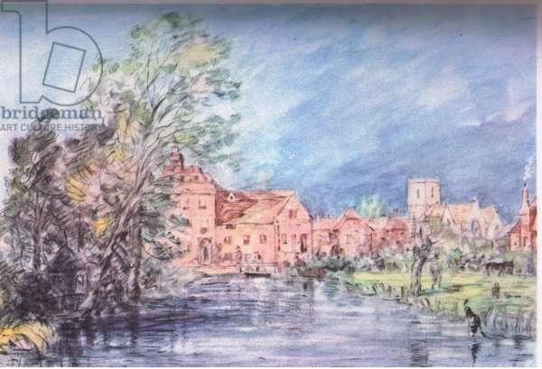 An English village 1821 (colour litho)