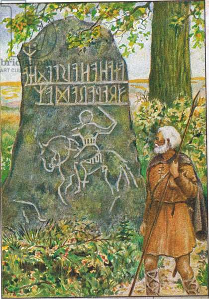The Origins and evolution of writing: Rune stones in Norway, from colour Liebig postcard (colour litho)