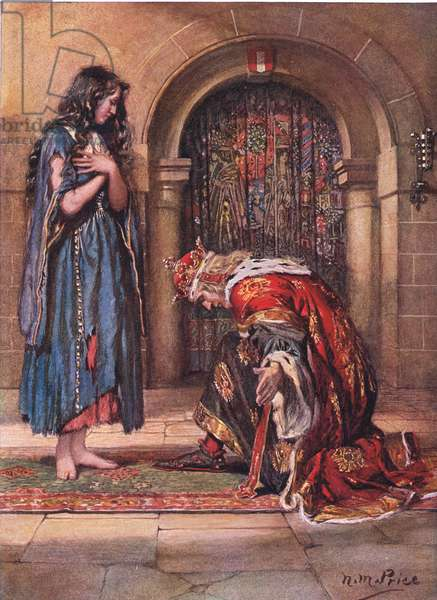 Barefooted came the Beggar-Maid before the King Cophetua, illustration from 'The Children's Tennyson: Stories in Prose and Verse from Alfred Lord Tennyson' by May Byron, 1910 (colour litho)