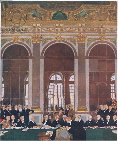 Signing peace in the Hall of Mirrors, Palce of Versailles, June 28 1919, from Cassells History of the British People published by the Waverley Book Company Limited, c.1940 (colour litho)