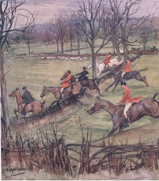 Nearly abreast of the pack, from Mr Jorrocks' Lectors published by Hodder & Stoughton, 1910 (colour litho)