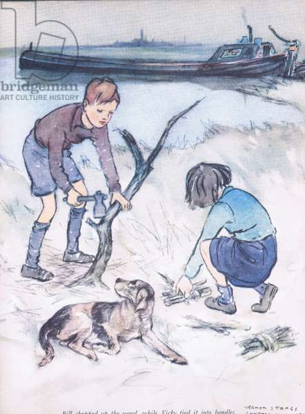 Bill chopped the wood, whileVicky tied it into bundles, from Mudlarks published by Collins, 1940 (colour litho)