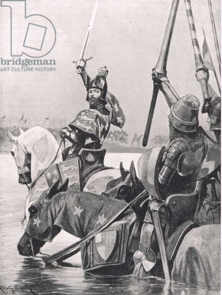 Edward III crossing the Somme before the Battle of Crecy, illustration from 'British Battles on Land and Sea', published by Cassell, London, c.1910 (litho)