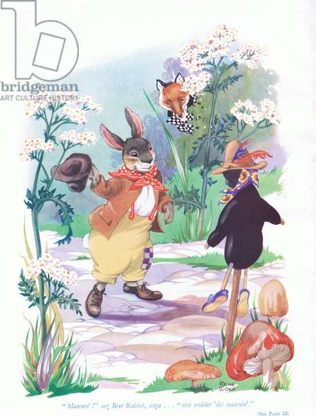 """Mawnin!"" sez Brer Rabbit, sezee. ""Nice wedder' dis mawnin"", illustration from 'Uncle Remus ' (colour litho)"