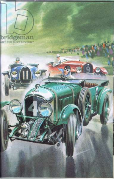 A Bentley leads at Le Mans (colour litho)
