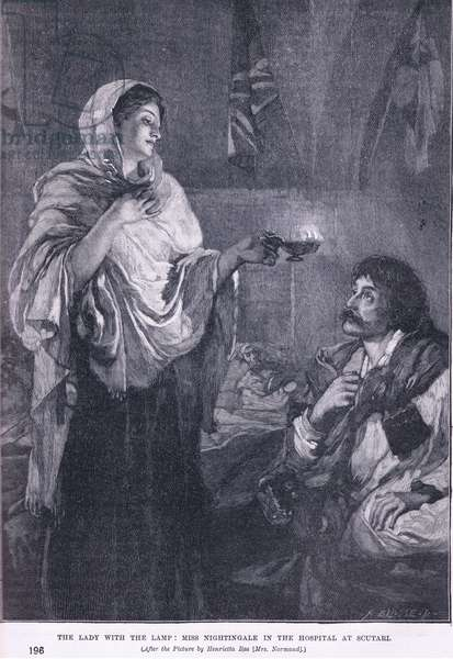 The Lady with the Lamp:Miss Nightingale in the hospital at Soutari 1855 AD (litho)