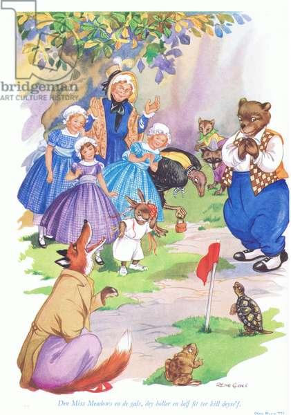 Den Miss Meadows en de gals, dey holler en laff fit ter kill deyself, illustration from 'Uncle Remus ' (colour litho)