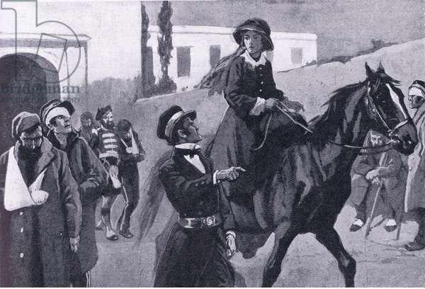 Florence Nightingale May 1855, riding out from Balaclava , illustration from'Cassell's Romance of Famous Lives', c.1940 (litho)