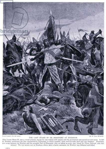 The last stand of de Montford at Evesham AD1265, 1920's (litho)