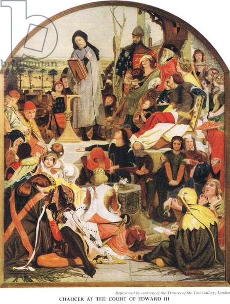 Chaucer at the Court of Edward III, c.1940s (colour litho)