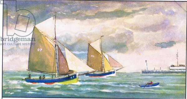 A small fishing boat, illustration from Liebig Trade Cards (1940's) Old Fishing Boats of the Belgium coast (colour litho)