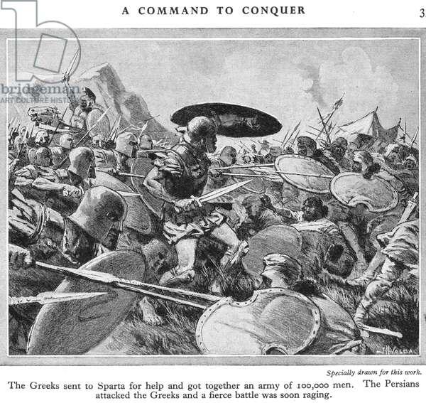 The Battle of Marathon, c.1940s (litho)