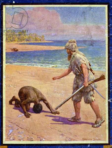 Crusoe and Man Friday, illustration for 'Robinson Crusoe' by Daniel Defoe (1660-1731) (colour litho)