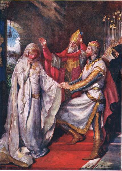 The Marriage of King Arthur and Queen Guinevere, illustration for 'Children's Stories from Tennyson' by Nora Chesson (colour litho)