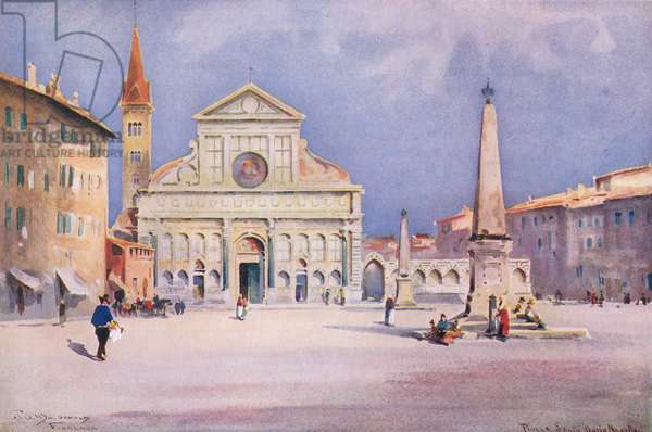 Oiazza S. Maria Novella, Florence, from Hutchinson's Picturesque Europe published by Hutchinson & Son, c.1930 (colour litho)