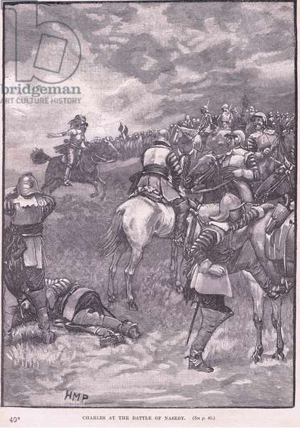 Charles at the Battle of Naseby AD 1645 (litho)