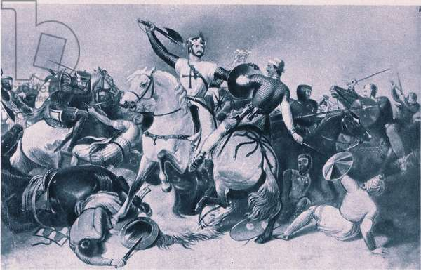 Richard I and Saladin at the Battle of Ascalon, 1192 (litho)