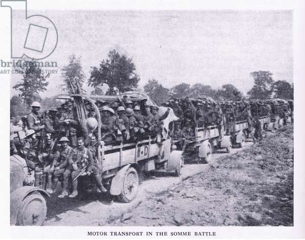 Motor transport in the Battle of the Somme, from Cassells History of the British People published by the Waverley Book Company Limited, c.1940 (b/w photo)