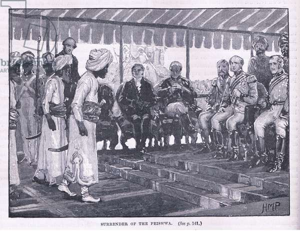 Surrender of the Peishwa AD  1818 (litho)
