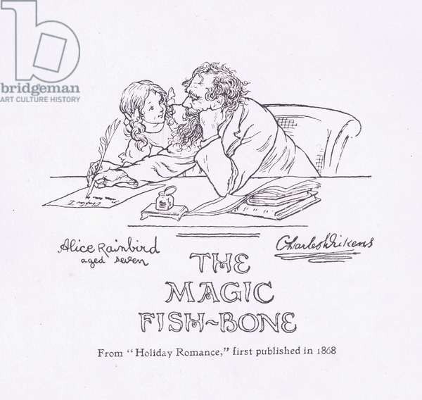 Title page design (Charles Dickens and Alice Rainbird), from The Magic Fishbone pub.by Warne & Co, c.1940 (litho)