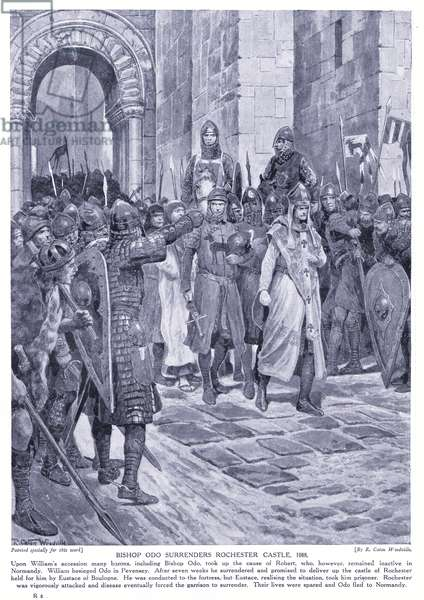 Bishop Odo surrenders Rochester:CastleAD1088, 1920's (litho)