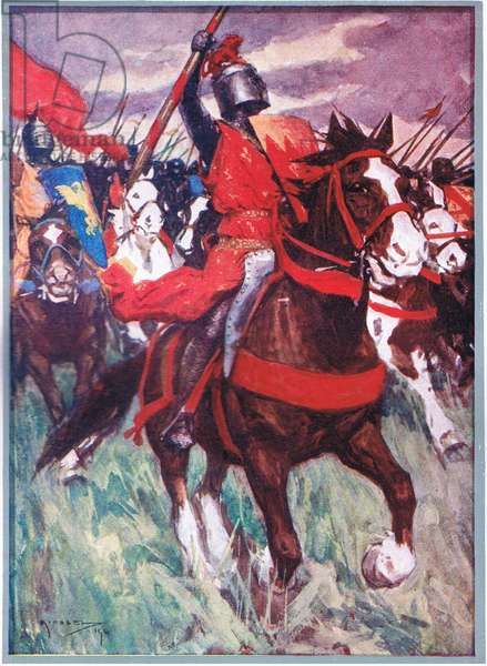 Philip darted forward amid a blaze of trumpets, from A History of France published by Henry Frowde & Hodder & Stoughton, c.1920 (colour litho)