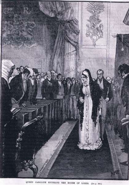 Queen Caroline entering the House of Lords (litho)