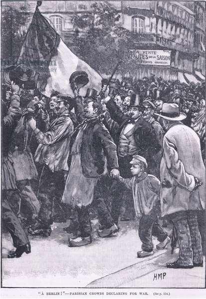 """A Berlin"" Parisian crowds declaring war (litho)"