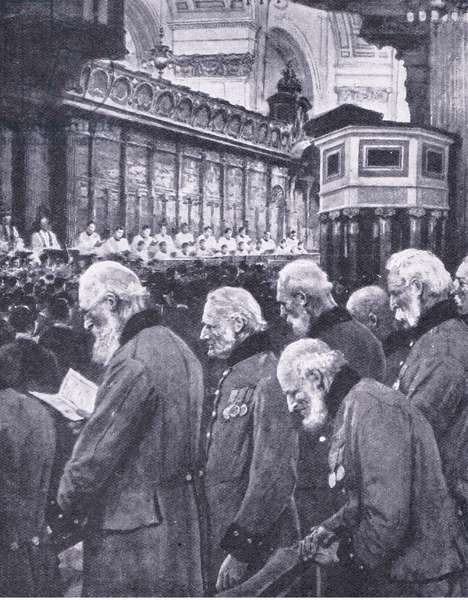 Florence Nightingale: A national tribute to a brave British woman at St Pauls Cathedral 1910 , illustration from'Cassell's Romance of Famous Lives', c.1940 (b/w photo)