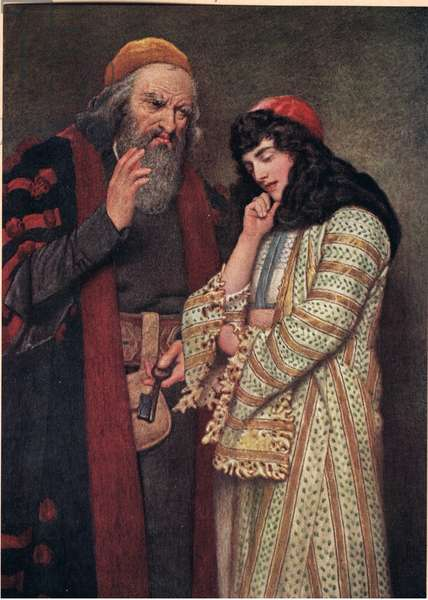 Shylock and Jessica, illustration from 'The Merchant of Venice', c.1910 (colour litho)