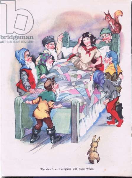 The dwarfs were delighted with Snow White, 1940's (colour litho)