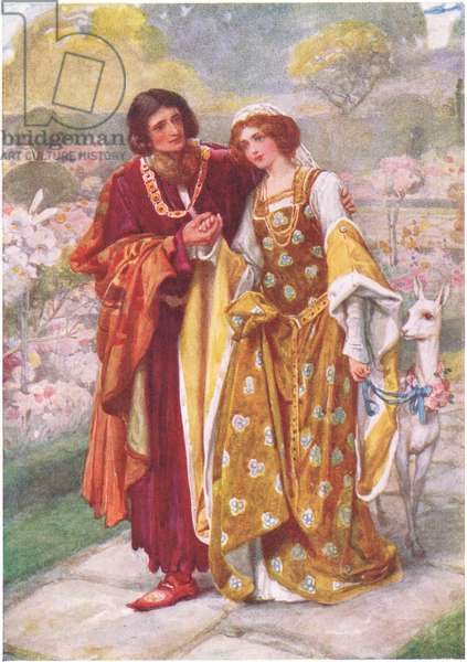 Lord Ronald and Lady Clare, illustration for 'Children's Stories from Tennyson' by Nora Chesson (colour litho)