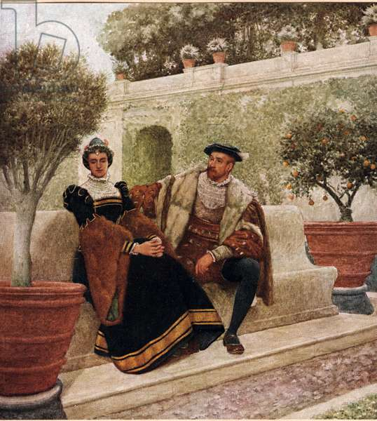 Lorenzo and Jessica, illustration from 'The Merchant of Venice', c.1910 (colour litho)