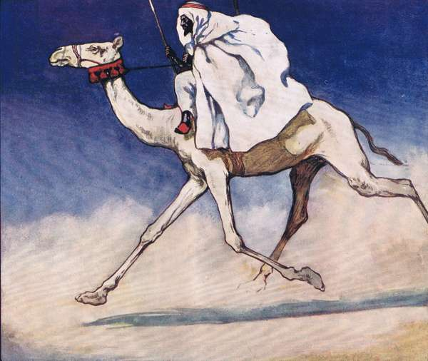 Riding a camel, illustration from 'Helpers Without Hands' by Gladys Davidson, published in 1919 (colour litho)