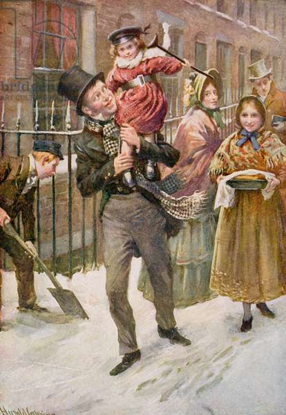 Bob Cratchit and Tiny Tim, illustration for 'Character Sketches from Dickens' compiled by B.W. Matz, 1924 (colour litho)