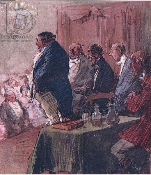 Mr Jorrocks ascended the platform, from Mr Jorrocks' Lectors published by Hodder & Stoughton, 1910 (colour litho)