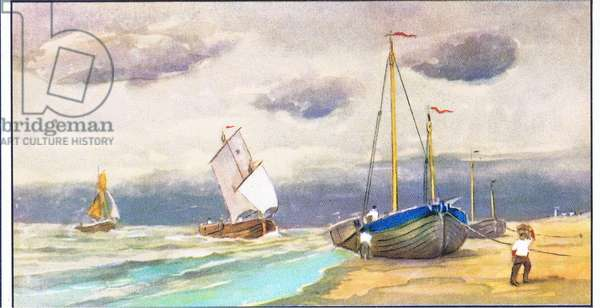Schuiten of Blankenberge at Heist, illustration from Liebig Trade Cards (1940's) Old Fishing Boats of the Belgium coast (colour litho)