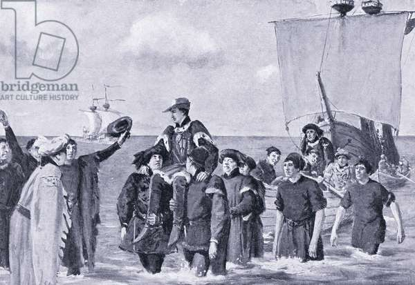 Henry V lands at Dover after Agincourt AD1415, 1920's (litho)