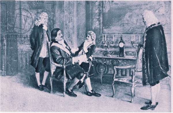 The meeting of Peter the Great of Russia and Louis XV of France (litho)