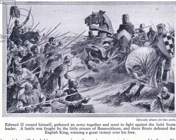 Edward II gathered an army and fought a battle at Bannockburn 1314 AD, where Bruce defeated the English, c.1950 (litho)