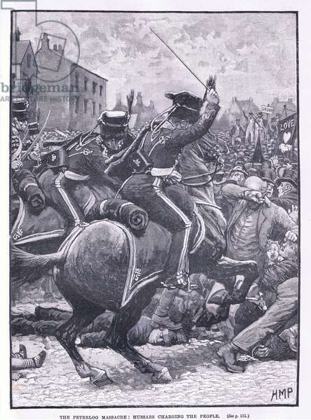 The Peterloo Massacre: Hussars charging the people AD  1819 (litho)