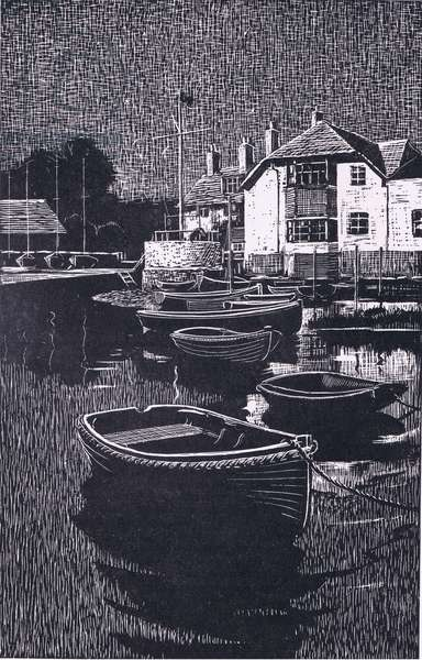When the moon is high, rows of dinghies lie like sleeping birds (litho)