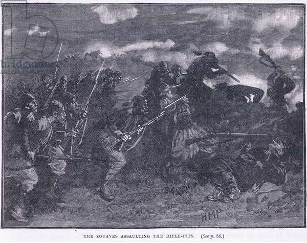 The Zouves assaulting a rifle pit 1855 AD (litho)